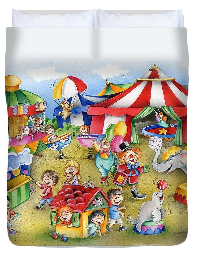 Circus Duvet Cover featuring the mixed media Circus In Town by Patrick Hoenderkamp