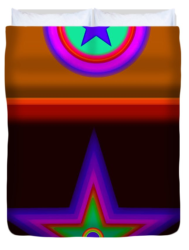 Classical Duvet Cover featuring the digital art Circus Star by Charles Stuart