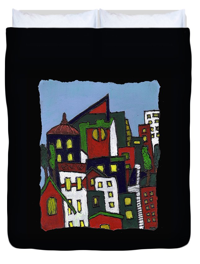 City Duvet Cover featuring the painting City At Christmas by Wayne Potrafka