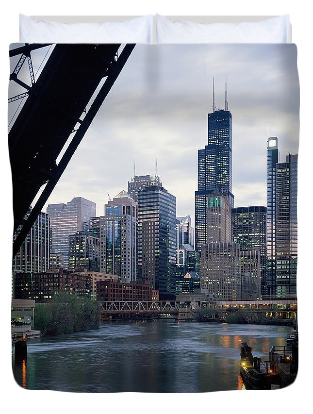 Photography Duvet Cover featuring the photograph City At The Waterfront, Chicago River by Panoramic Images