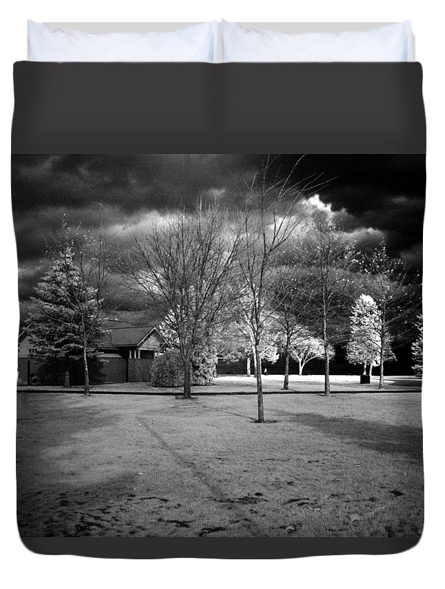 Infrared Duvet Cover featuring the photograph City Beach In Infrared by Lee Santa