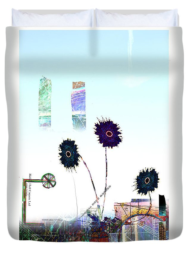 Urban Duvet Cover featuring the digital art City Blooms by Andy Mercer