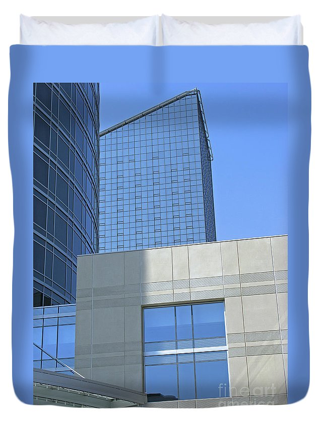 Blue Duvet Cover featuring the photograph City Blues by Ann Horn