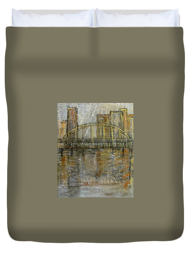 Bridge Duvet Cover featuring the painting City Bridge by Anita Burgermeister