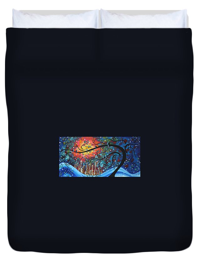 Art Duvet Cover featuring the painting City By The Sea By Madart by Megan Duncanson