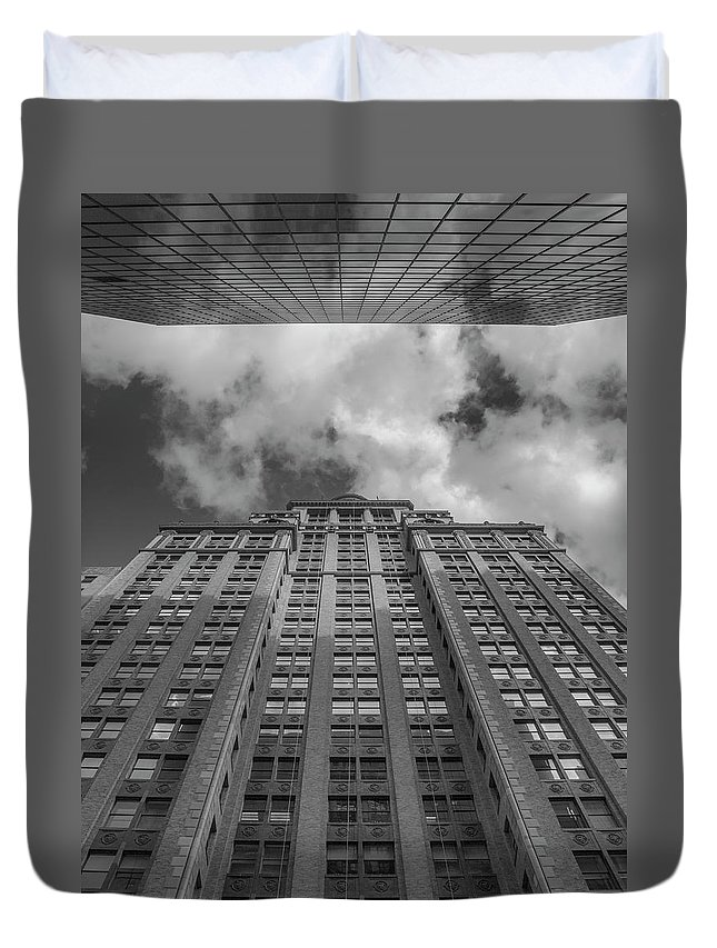 Downtown Duvet Cover featuring the photograph City Canyon Black And White by Joshua House