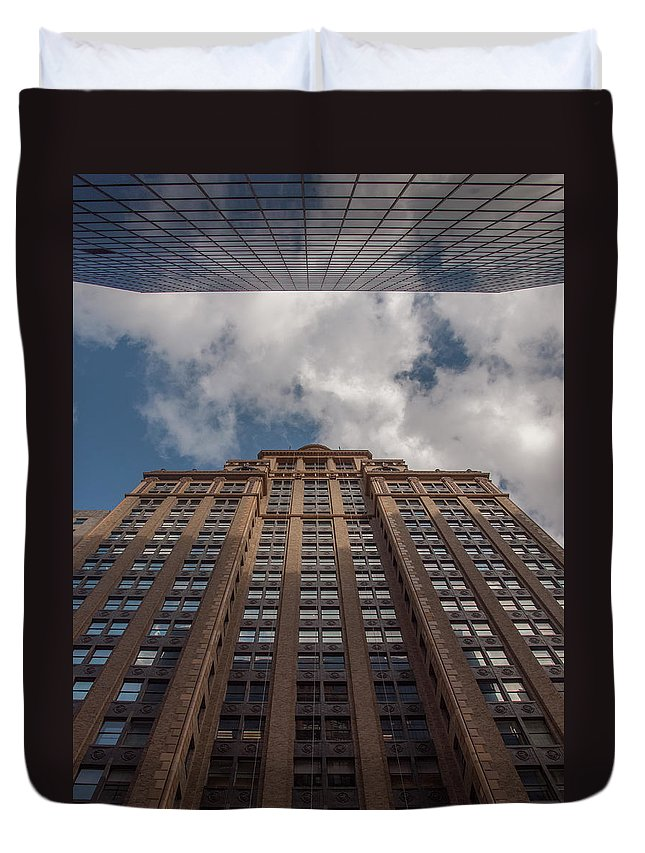 Downtown Duvet Cover featuring the photograph City Canyon by Joshua House