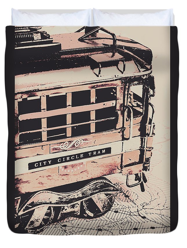 Urban Duvet Cover featuring the photograph City Circle Street Artwork by Jorgo Photography - Wall Art Gallery