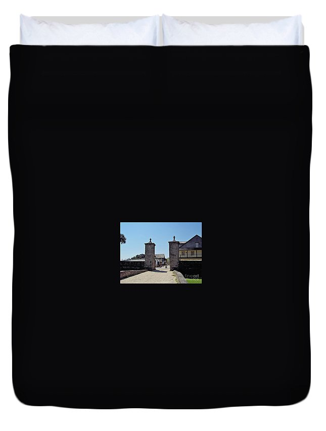 City Gates Duvet Cover featuring the photograph City Gate Of St Augustine by D Hackett