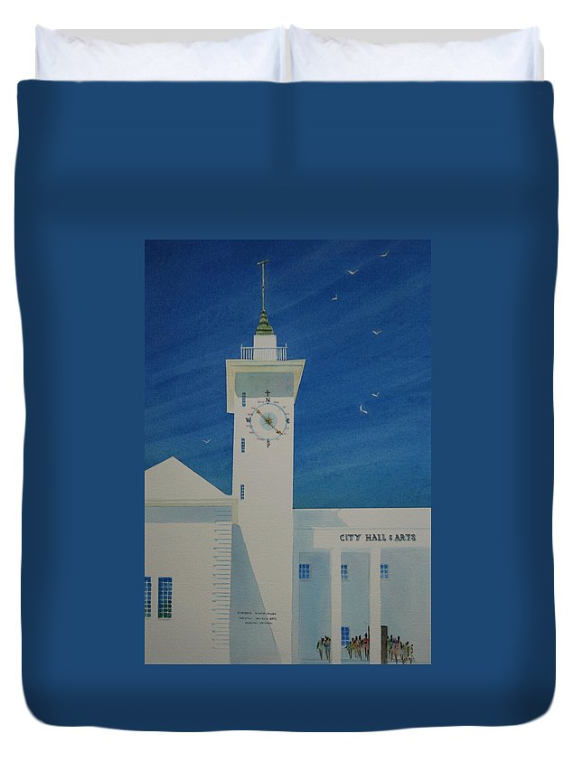 Bermuda Duvet Cover featuring the painting City Hall And Arts Building Bermuda by Tom Harris