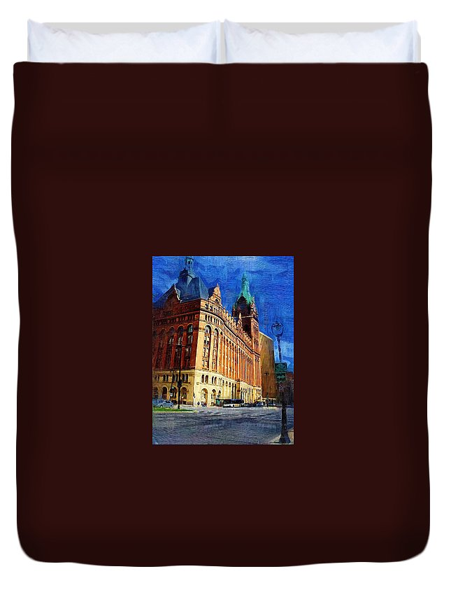 Architecture Duvet Cover featuring the digital art City Hall And Lamp Post by Anita Burgermeister