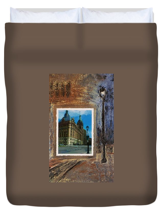 City Hall Duvet Cover featuring the mixed media City Hall And Street Lamp by Anita Burgermeister