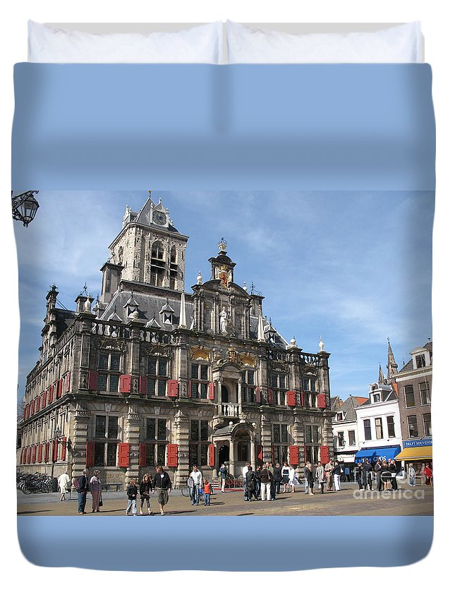 City Hall Duvet Cover featuring the photograph City Hall - Delft - Netherlands by Christiane Schulze Art And Photography