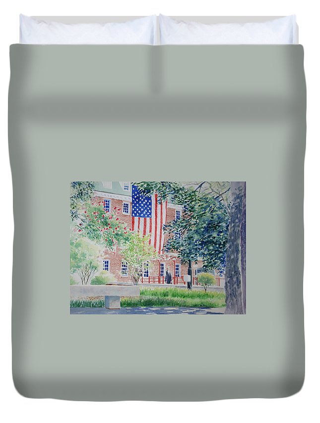 City Scape Duvet Cover featuring the painting City Hall Old Town Alexandria Virginia by Tom Harris