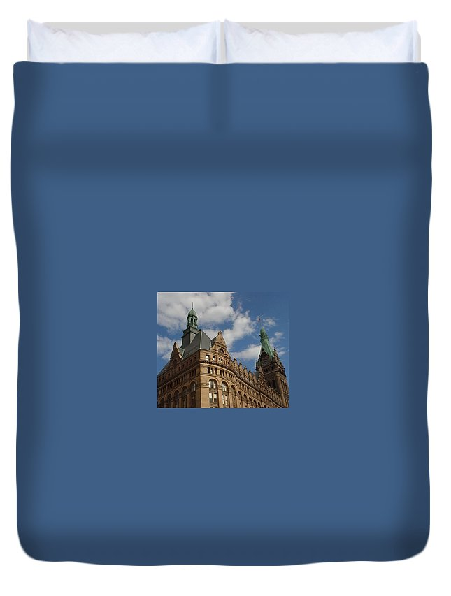 Milwaukee Duvet Cover featuring the photograph City Hall Roof And Tower by Anita Burgermeister