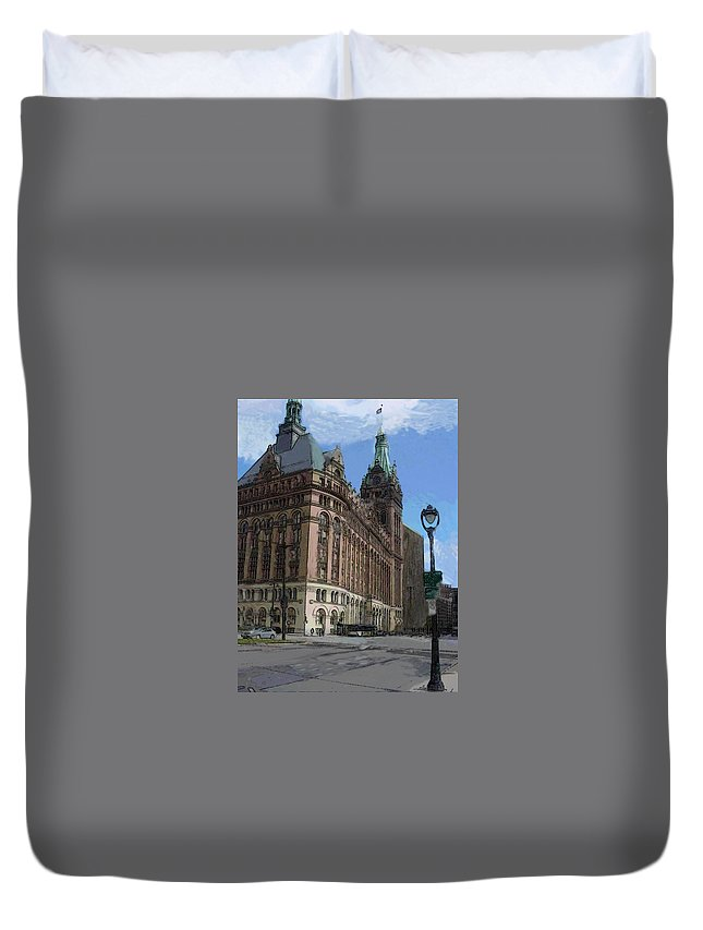City Hall Duvet Cover featuring the digital art City Hall With Street Lamp by Anita Burgermeister