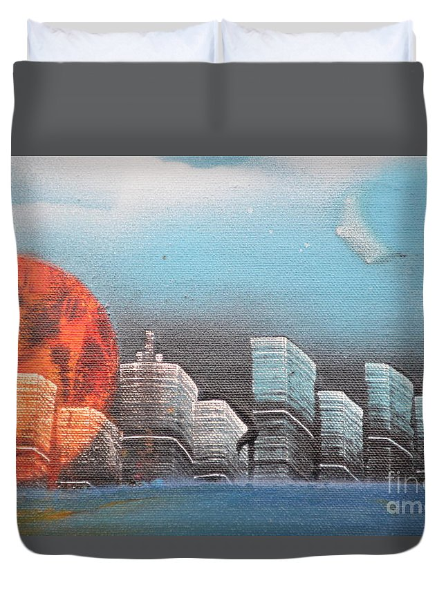 City Duvet Cover featuring the painting City In The Day. by Zack Anderson