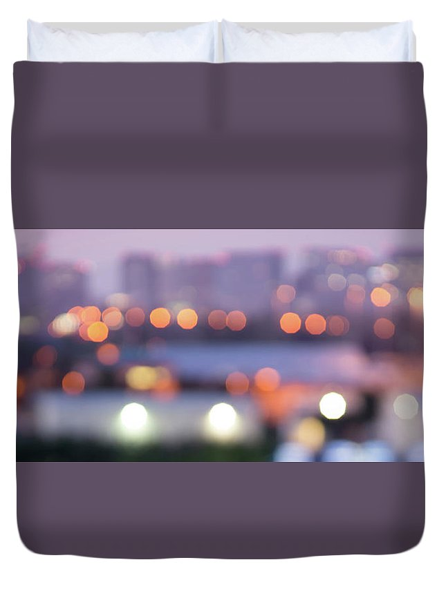 Lights Duvet Cover featuring the photograph City Lights Bokeh Night Abstract by Alex Grichenko