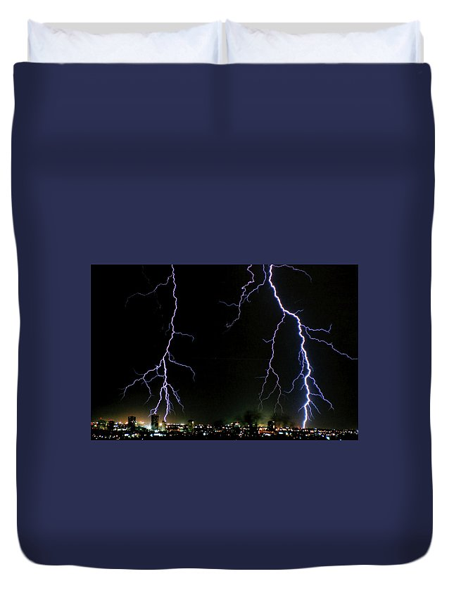 Arizona Duvet Cover featuring the photograph City Lights by Cathy Franklin