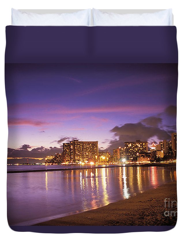 Active Duvet Cover featuring the photograph City Lights Reflections by Peter French - Printscapes