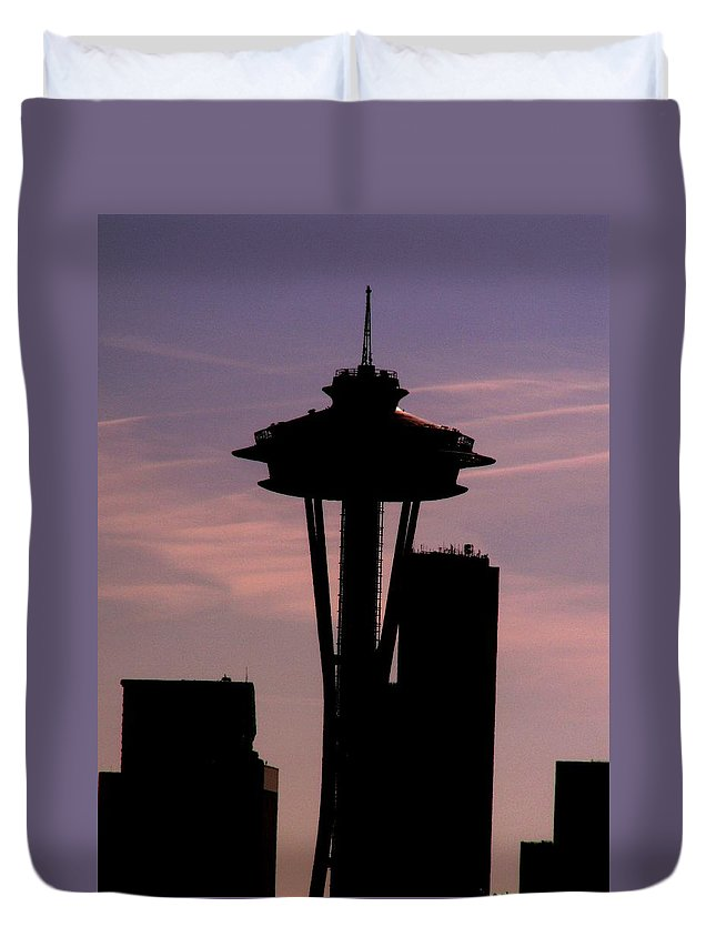Seattle Duvet Cover featuring the digital art City Needle by Tim Allen