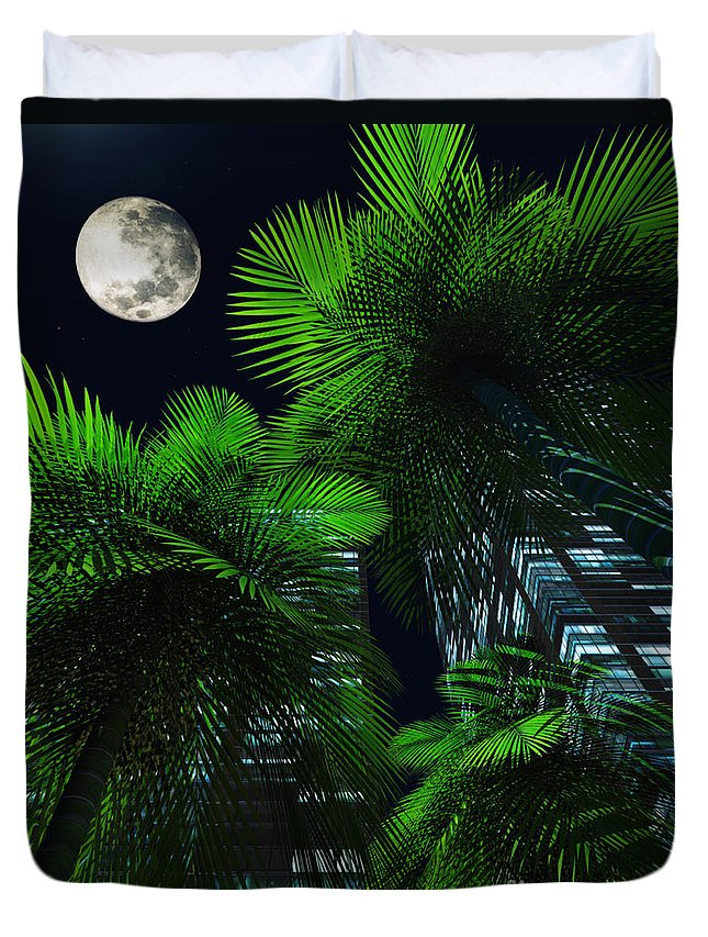 Tropics Duvet Cover featuring the digital art City Nights by Richard Rizzo