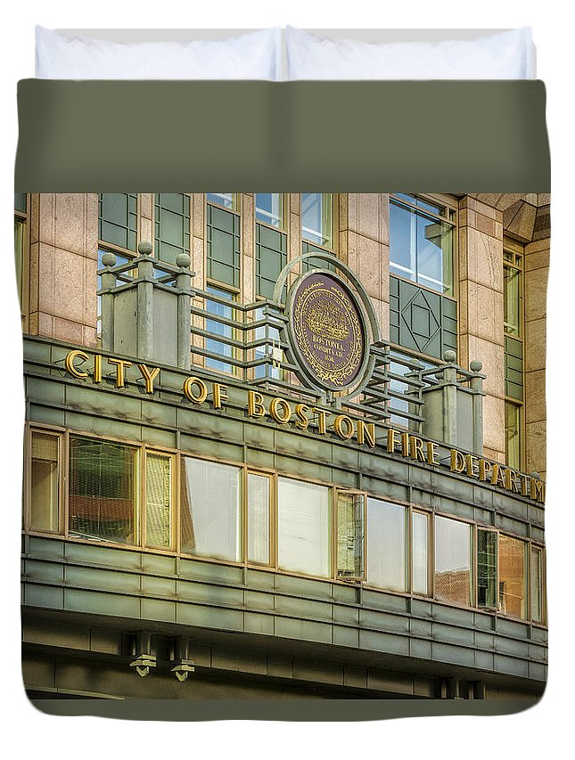 Boston Duvet Cover featuring the photograph City Of Boston Fire Department by Susan Candelario