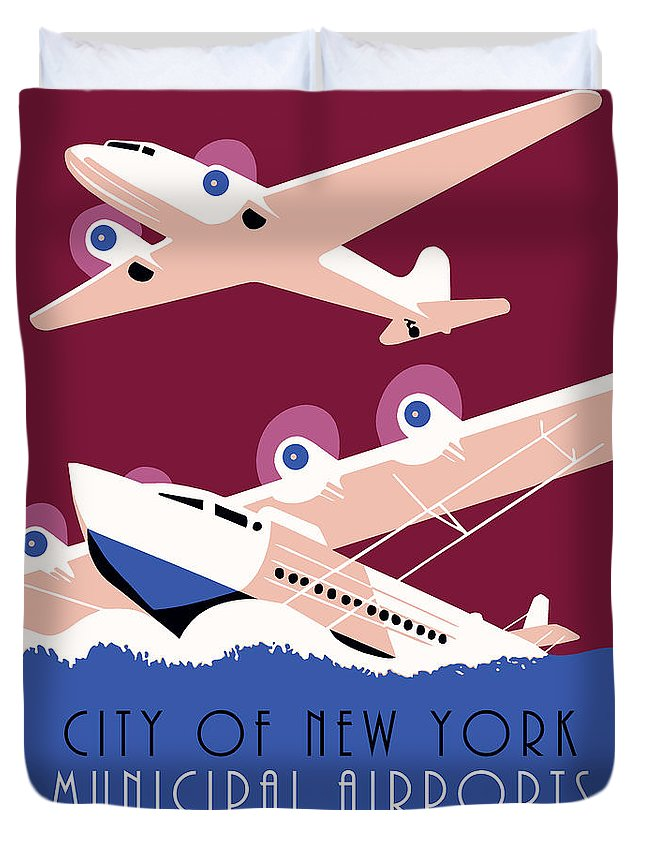 Duvet Cover featuring the drawing City Of New York Municipal Airports by Aapshop