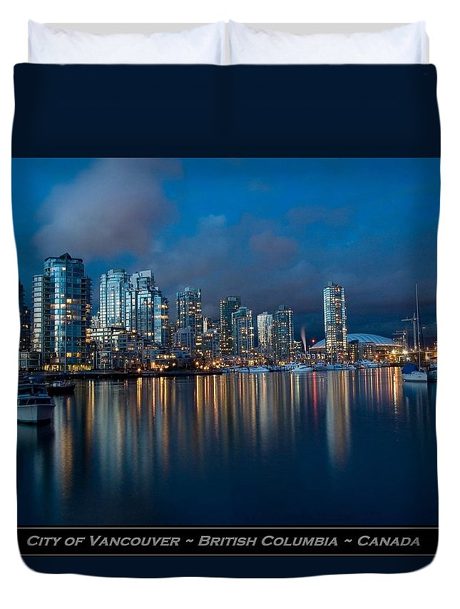 Vancouver Duvet Cover featuring the photograph City Of Vancouver British Columbia Canada by Movie Poster Prints