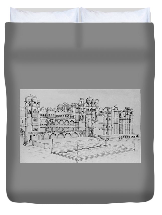 Palace Duvet Cover featuring the painting City Palace Of Udaipur by Yash