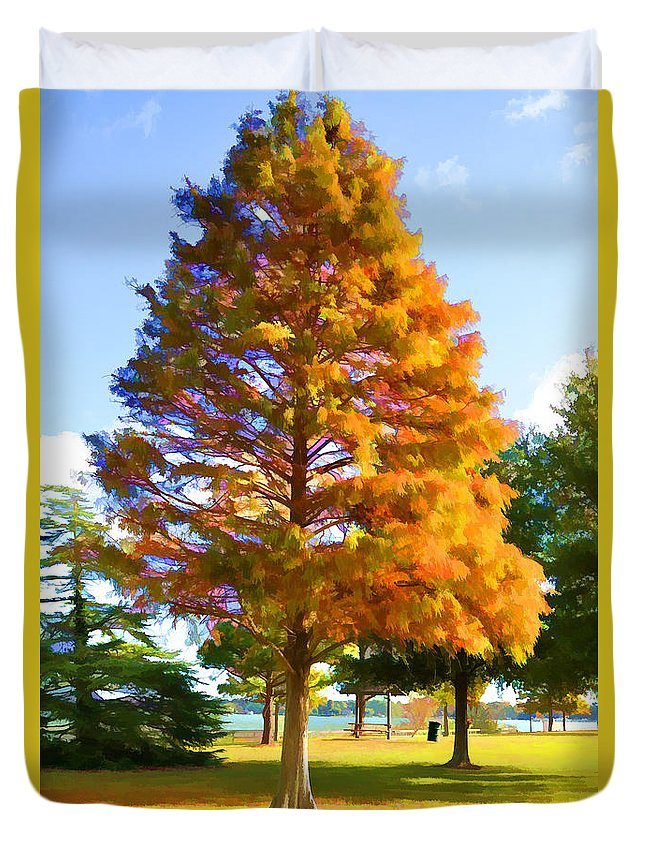 Portsmouth City Park Duvet Cover featuring the painting City Park 3 by Jeelan Clark