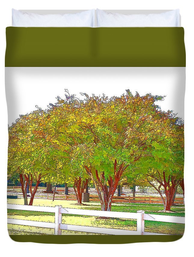 Abstract Duvet Cover featuring the painting City Park 9 by Jeelan Clark
