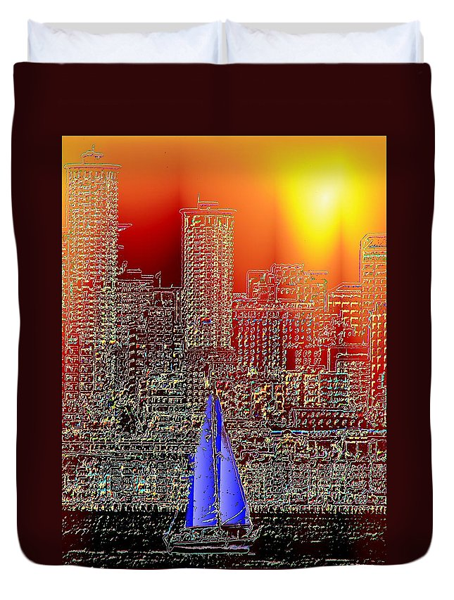 Seattle Duvet Cover featuring the photograph City Sailin by Tim Allen