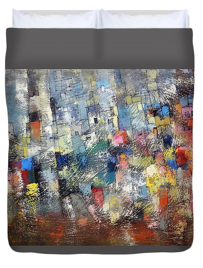 Ronex Art Duvet Cover featuring the painting City Scape 3 by Ronex Ahimbisibwe