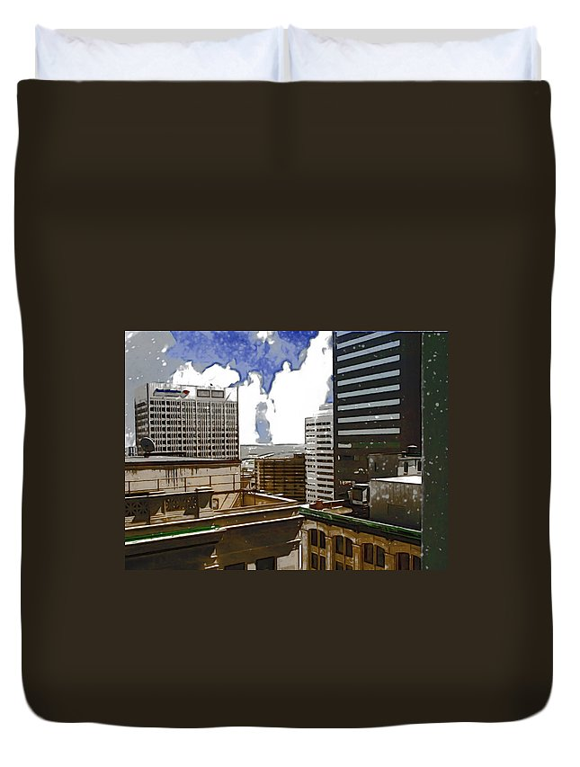City Duvet Cover featuring the photograph City Skies by Paulette B Wright