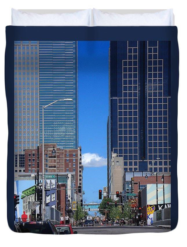 Kansas City Duvet Cover featuring the photograph City Street Canyon by Steve Karol