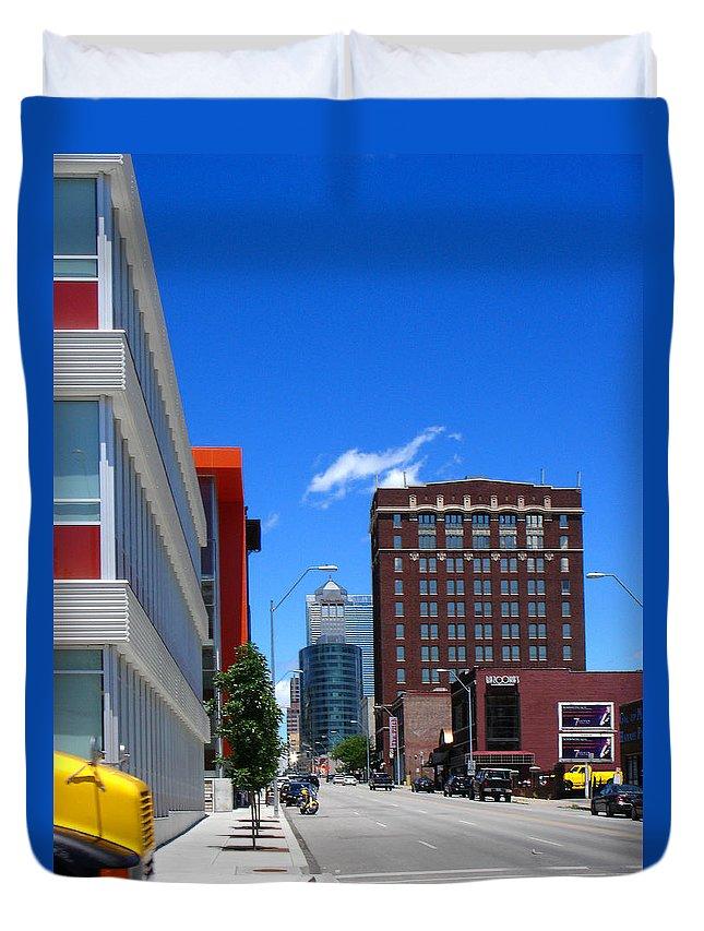 Kansas City Duvet Cover featuring the photograph City Street by Steve Karol