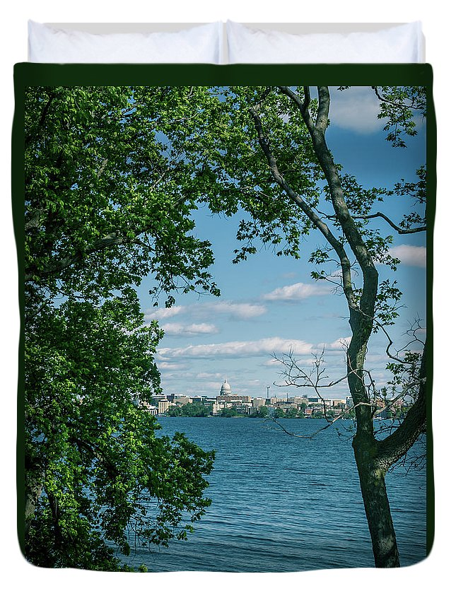 Madison Duvet Cover featuring the photograph City Through The Trees by Rockland Filmworks