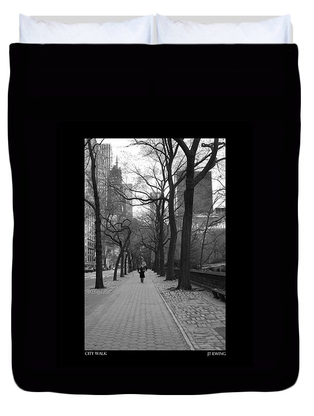 Black Duvet Cover featuring the photograph City Walk by J Todd