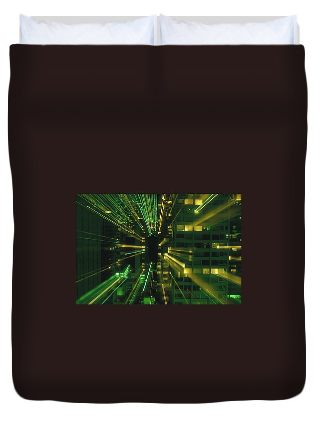 Night Duvet Cover featuring the photograph City Zoom II by Jerry McElroy