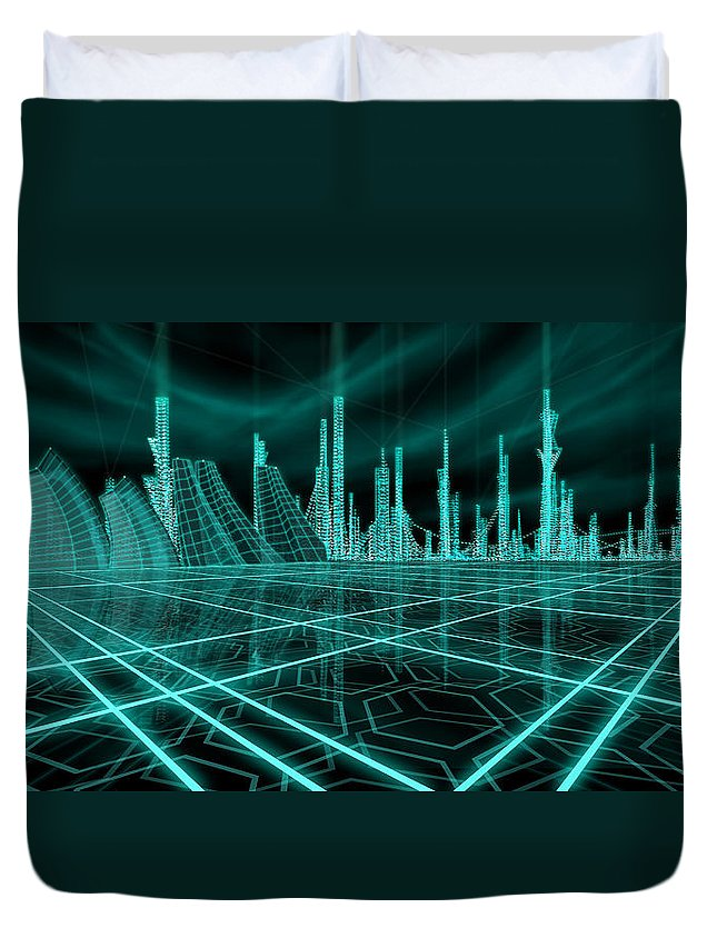 Science Fiction City Duvet Cover featuring the painting Cityscape 2010 Alpha by James Christopher Hill