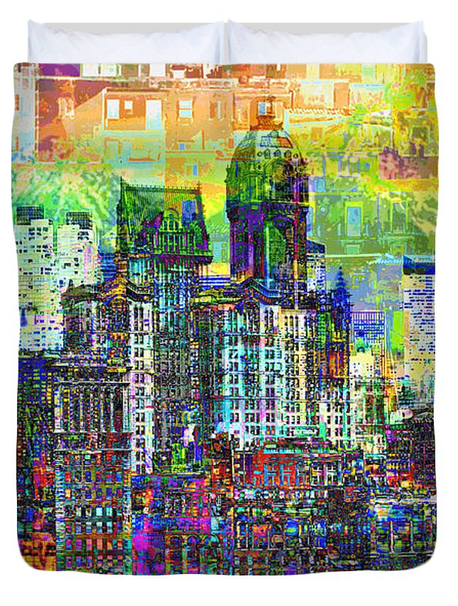 City-art Duvet Cover featuring the photograph Cityscape Art City Optimist by Mary Clanahan