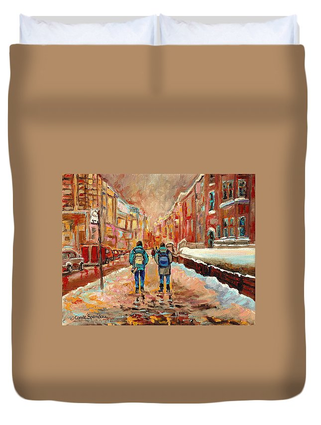 Cityscape In Winter Duvet Cover featuring the painting Cityscape In Winter by Carole Spandau