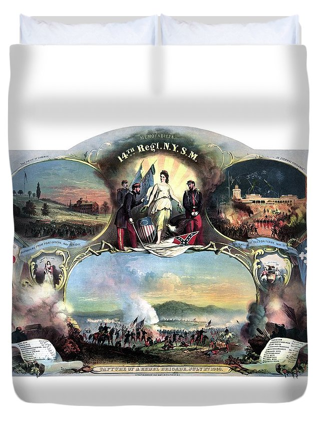Civil War Duvet Cover featuring the painting Civil War 14th Regiment Memorial by War Is Hell Store