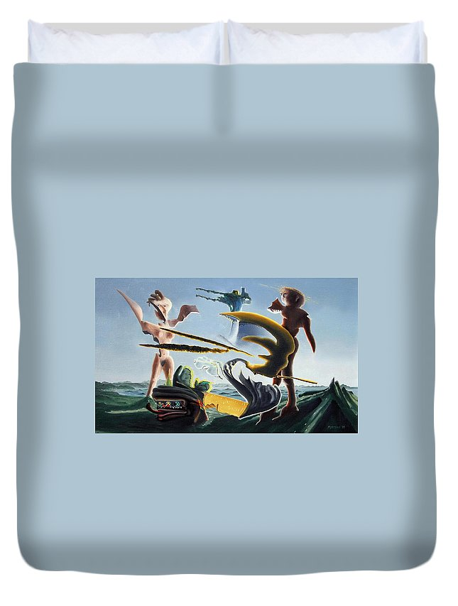 Landscape Duvet Cover featuring the painting Civilization Found Intact by Dave Martsolf