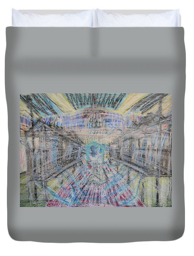 Church Duvet Cover featuring the painting Claiming Of The Soul by Marwan George Khoury