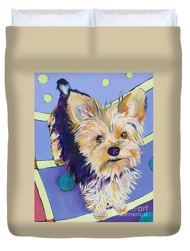 Pet Portraits Duvet Cover featuring the painting Claire by Pat Saunders-White