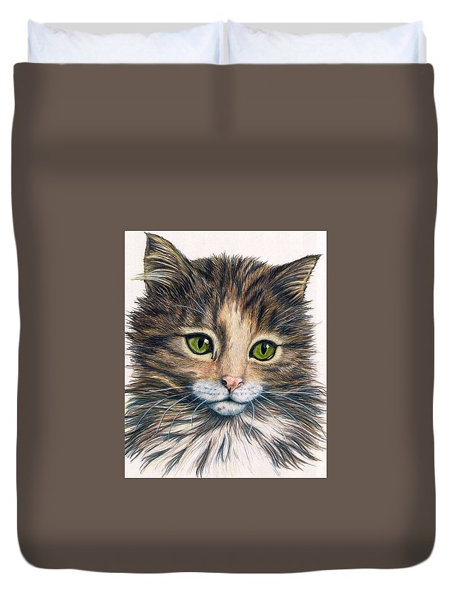 Cat Duvet Cover featuring the drawing Clarice by Kristen Wesch