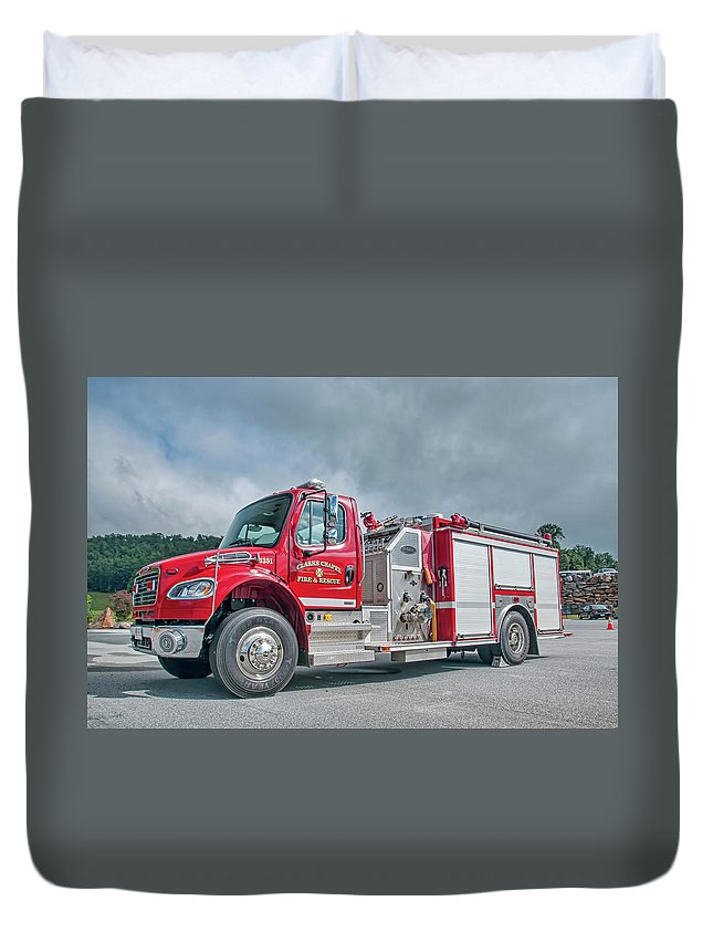 Clarks Duvet Cover featuring the photograph Clarks Chapel Fire Rescue - Engine 1351, North Carolina by Timothy Wildey