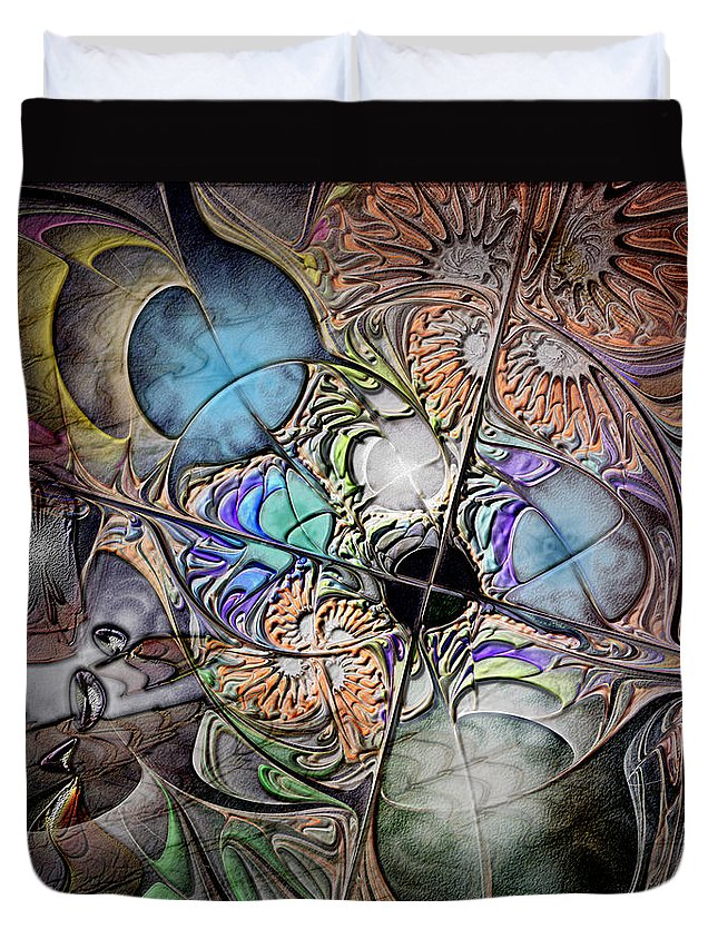Abstract Duvet Cover featuring the digital art Clash Of The Earthly Elements by Casey Kotas